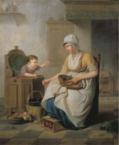 a small child in a high chair with a servant cleaning vegetables seated nearby in a kitchen interior by pieter fonteyn