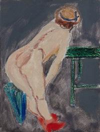 weiblicher rückenakt mit roten stiefeln (studie) by norbert tadeusz