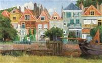 maisons au bord du canal, hollande by albert baertsoen