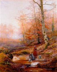 gypsy girls gathering water at a woodland stream by walter follen bishop