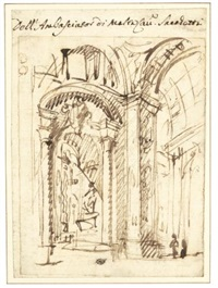 architectural study of the interior of a church by filippo juvara