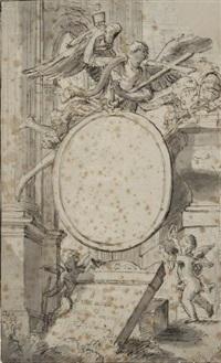 projet de frontispice: un ange portant une croix et un calice (frontispiece design) by hendrik franciscus verbruggen