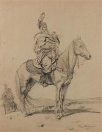 deux cavaliers arabes et leurs faucons by george bertin scott