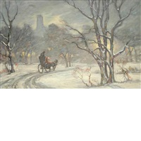 central park in snow by bela de tirefort