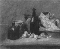 still life with ceramic jugs and onions on a table by francis miller