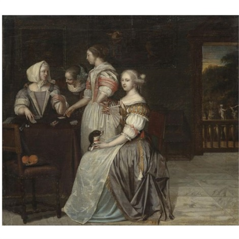 an interior with a company of elegant ladies playing cards a balustrade with a landscape beyond by eglon hendrik van der neer