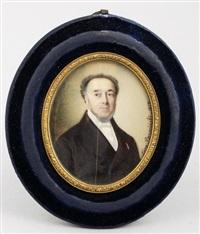 miniatura, portret mężczyzny odznaczonego legią honorową by leon brzezinski