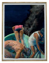 beto's vacation (water, land, fire) (triptych) by john valadez