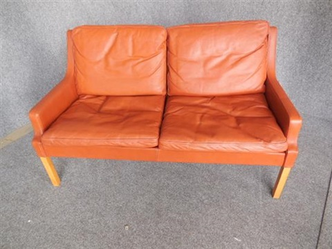 Two Seat Burnt Orange Leather Sofa By Rud Thygesen And Johnny Sørensen