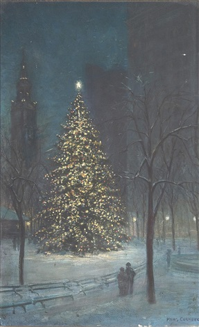 christmas in madison square park by paul cornoyer