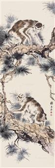 松树双猴图 立轴 纸本设色 by liu kuiling