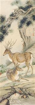 百鹿图 立轴 纸本 by liu kuiling