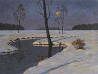 mond über winterlicher landschaft by friedrich wachenhusen
