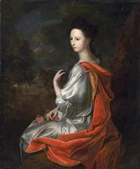 porträt einer dame mit rotem umhang vor bewaldeter landschaft by hendrik van limborch