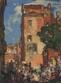 venice, departure for a wedding, rio san agostin by sir frank brangwyn