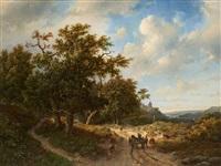 chariot attelé sur fond de paysage avec château by marinus adrianus koekkoek the elder
