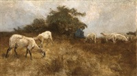 a shepherd with his flock by louis albert roessingh