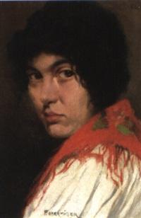 mädchen mit rotem schultertuch by franz obermüller