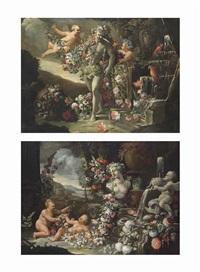 putti surrounding the farnese hercules with garlands of flowers, beside a fountain; putti lying beside a classical fountain with garlands... (pair) by abraham brueghel