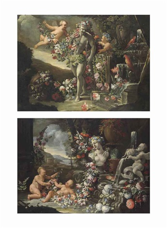 putti surrounding the farnese hercules with garlands of flowers beside a fountain putti lying beside a classical fountain with garlands pair by abraham brueghel