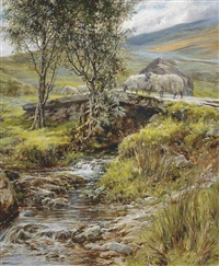 sheep on a stone bridge by robert morley