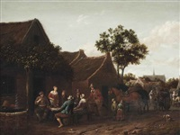 peasants making merry outside an inn by barend gael
