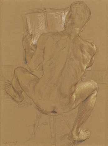 seated nude reading by paul cadmus