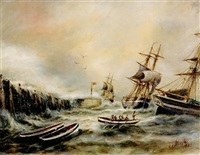 three sailing vessels in rough seas by quay by john taylor allerston