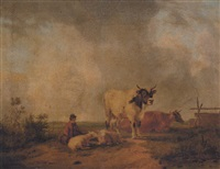 a drover resting with sheep and cattle in a meadow by john simpson