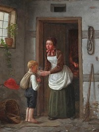 interior with mother and son in a doorway by christian rudolph vogelsang
