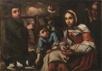 scena domestica con giovane popolana e bambino by bernhard keil