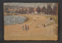 sydney beach scene, & cottage on hillside (double-sided) by james ranalph jackson
