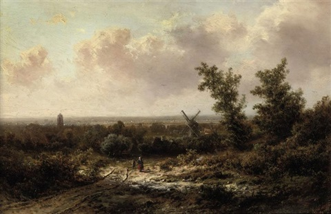 figures on a sandy trail by pieter lodewijk francisco kluyver