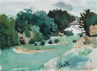 landscape with house, southampton by fairfield porter