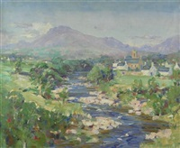 spring time river scene by william wright campbell