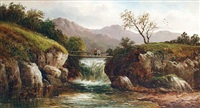 on the conway, north wales (+ a mountain stream, llangollen, north wales; pair) by g. thompson