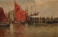 bateau à la voile rouge by adrien le mayeur de merprés