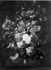 a still life of poppies, roses, convolvulus and other flowers in a vase on a stone ledge by philips van kouwenberg
