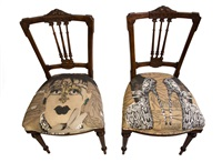 pair of upholstered victorian chairs: self portrait and leopard heels (2) by steven cohen