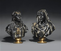 north african nobleman and woman (2 works) by giulio tadolini