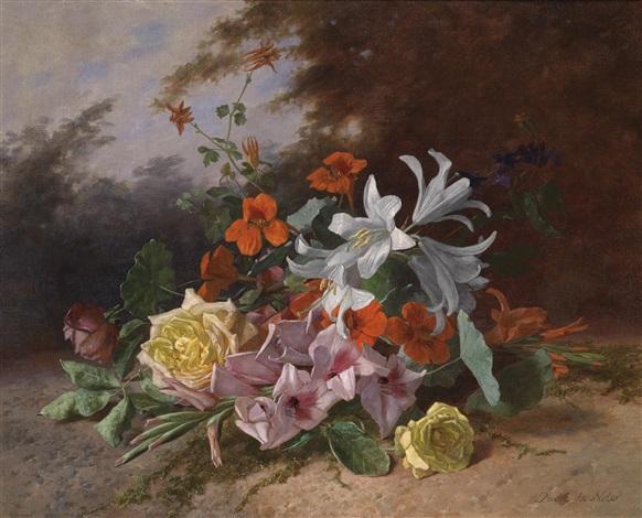 blumenstück mit rosen gladiolen und lilien by david emile joseph de noter