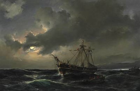 night time at sea with sailors being rescued from a sinking ship in moonlight by daniel hermann anton melbye