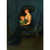 a portrait of a lady in a black satin dress with her son by antonio de la gandara