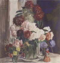 still life with flowers and russian doll by mikhail nikolaevich yakovlev