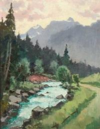 mountain landscape from steinach am brenner by julius von kaan-albest