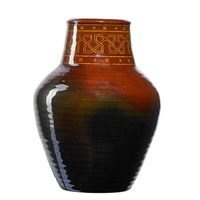 tiger eye vase with native american pattern by albert r. valentien