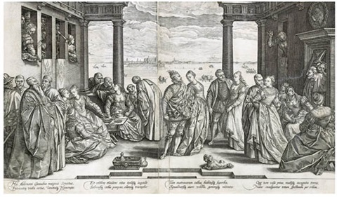 the venetian ball (on 2 joined sheets) by hendrik goltzius