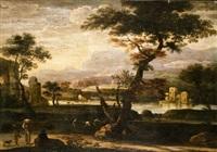 paesaggio fluviale con astanti in primo piano ed una scena di caccia al cervo al centro by jan de momper
