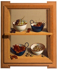 still life with four enamelled bowls with fruit in a cabinet (trompe-l'oeil) by henri bol