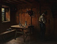 interior of a farmhouse by hermann lindenschmit